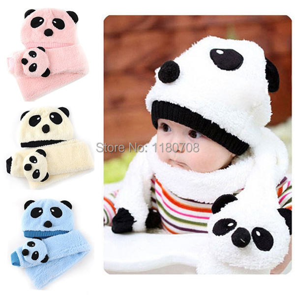 Winter Baby Girl Boy Warm Cute Panda style Hat Cap Beanie Scarf Set 4 Colors