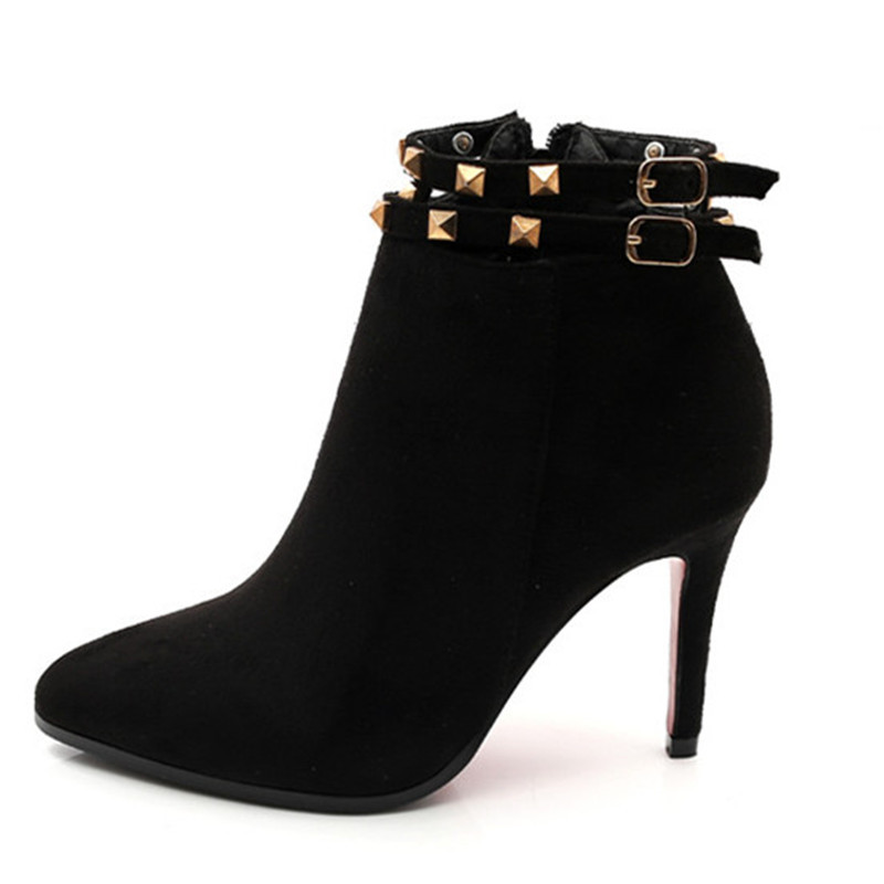 Fashion Womens Ankle Boots Shoes Winter 2015 High Quality Pu Leathee Thin Heels Pointed Toe Womens Boots Shoes