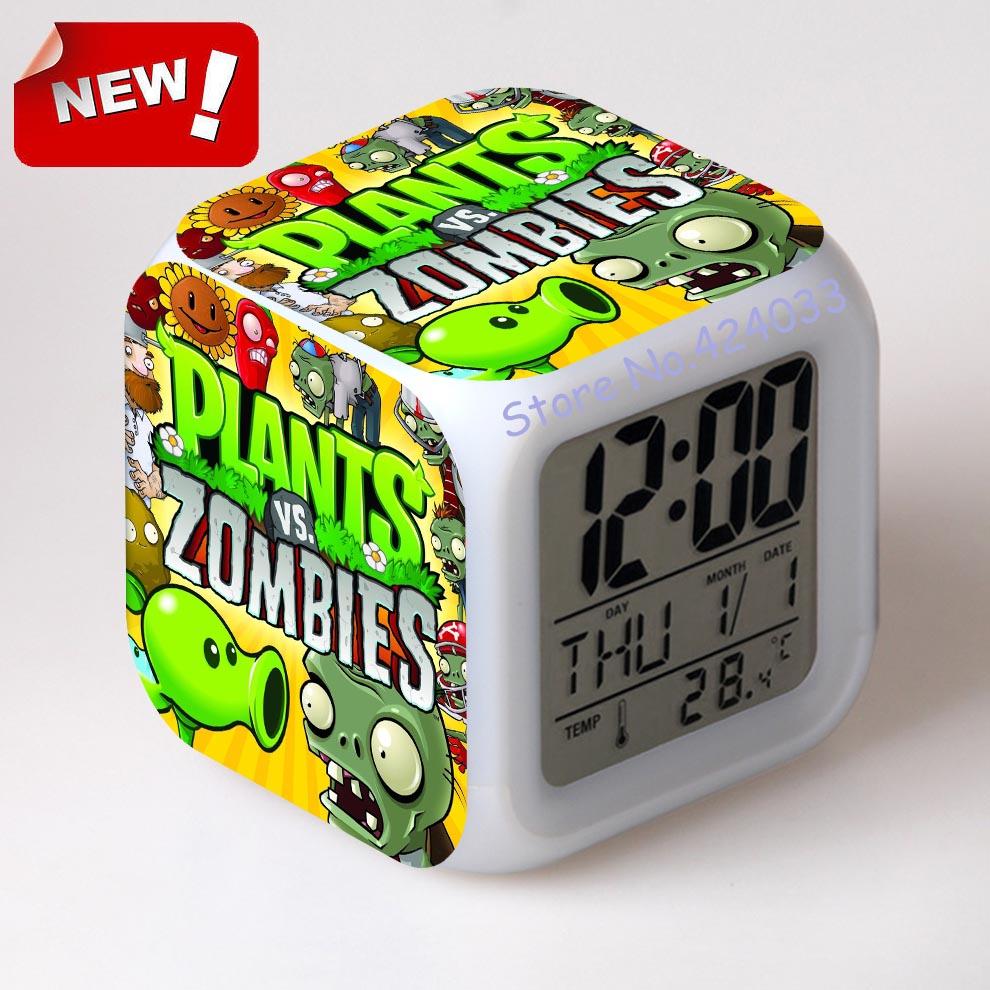 Plants VS Zombies Alarm Clock Led Light 7 Color Change Cool Gadgets Saat Square Table Projection Clock Plastic Digital(China (Mainland))