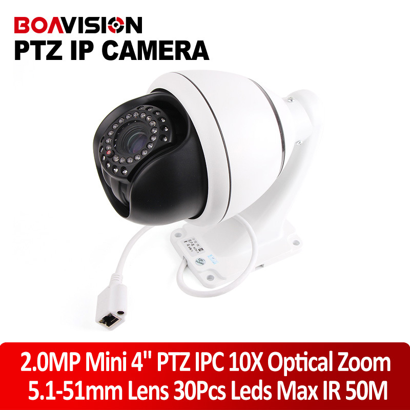 New Arrival Onvif IR-CUT Nightvision HD 2MP 1080P Mini 4'' PTZ IP Camera Indoor 30*Leds IR 50M Middle Speed Dome Camera 10X Zoom(China (Mainland))