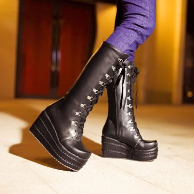 ENMAYER New2016 Gothic Punk Shoes Cosplay Boots Knee High Heel