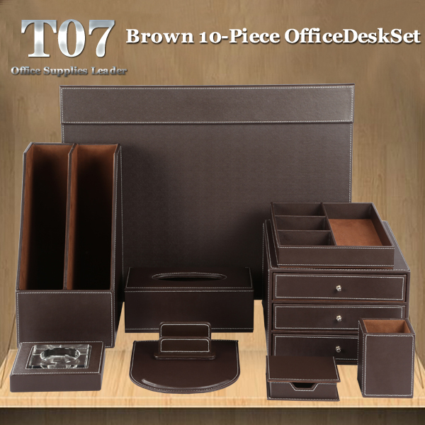 Office 10-piece Desk Set with Write Board file rack pen pencil storage drawer tissue holder stationery box T07 Black/Brown(China (Mainland))