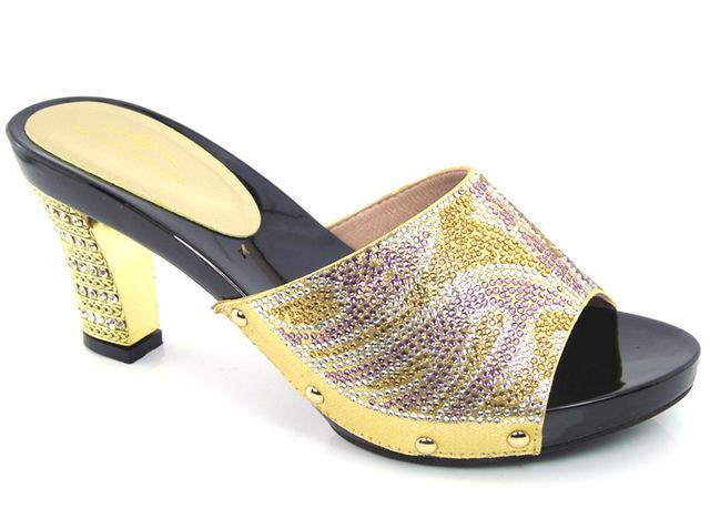 Фотография  Top Sale African Wedding Rinestone Shoes High Heels Adult Women Pumps For Wedding Gold