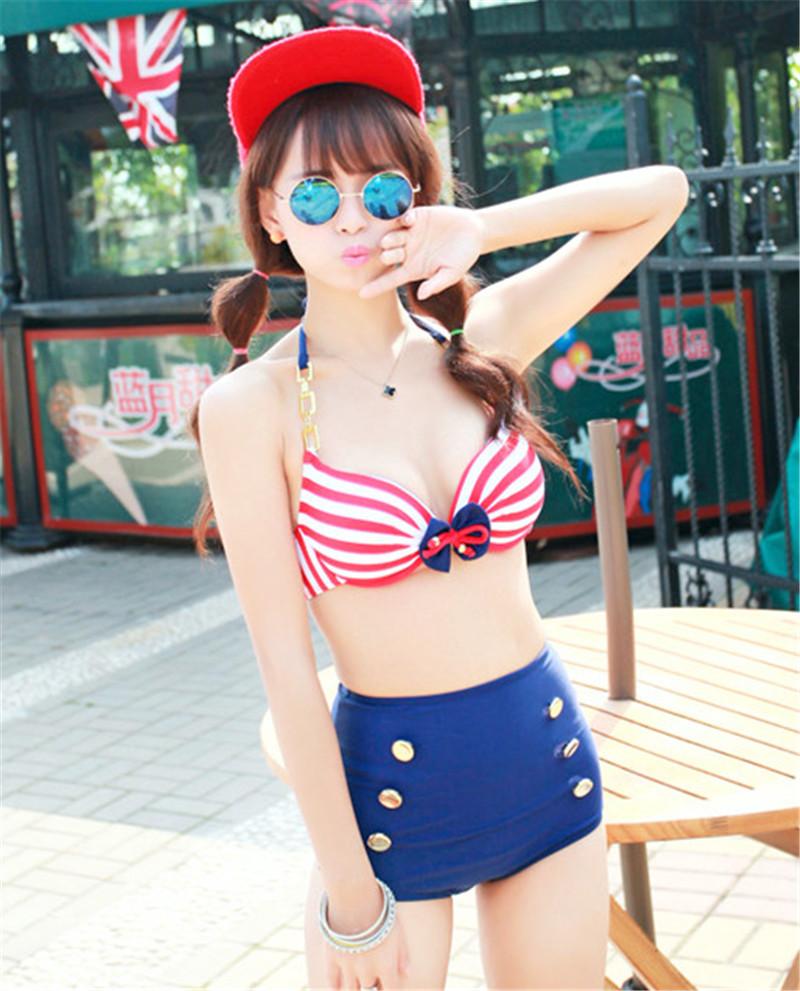 2015 Retro Pinup Vintage Beach Swimsuit Women Halterneck Swimwear Bathing Suit High Waist Stripes Bikinis Set Swimwear(China (Mainland))