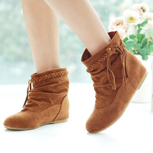 2016 New Fashion Women Braided Tassel Flat Comfortable Suede Leather Boots Round Toe Casual Boots Big Size Shoes Booties O541