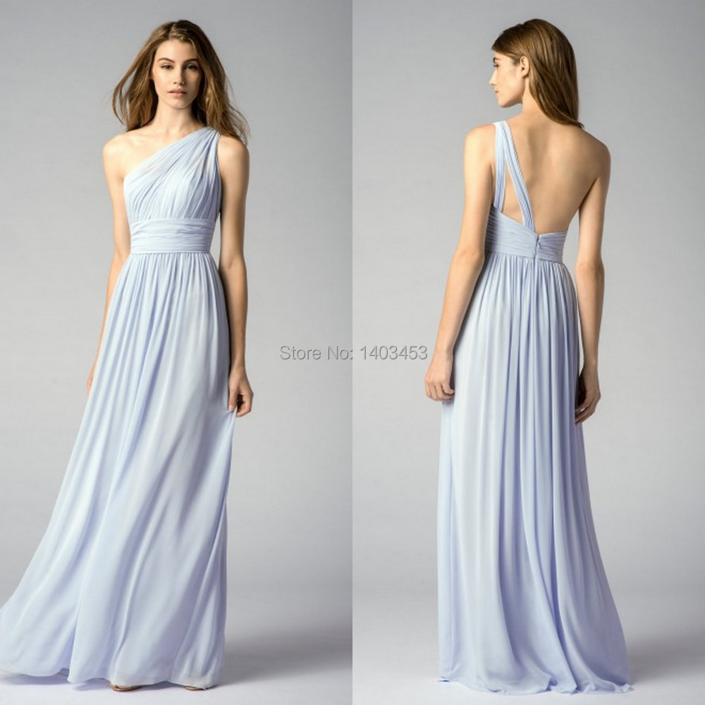 Vestido de fiesta 2015 pastel light blue chiffon one for Guest of wedding dresses