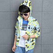 2016 summer new boy camouflage hoodies clothes kids holiday clothing short casual long sleeve print Sunscreen jacket outwear(China (Mainland))