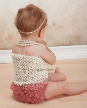 3 Pcs Set - Baby Girls Cream Crochet Tube Top & Rea Rose Rosettes Bloomer Panties Underwear & Headband 0-12M