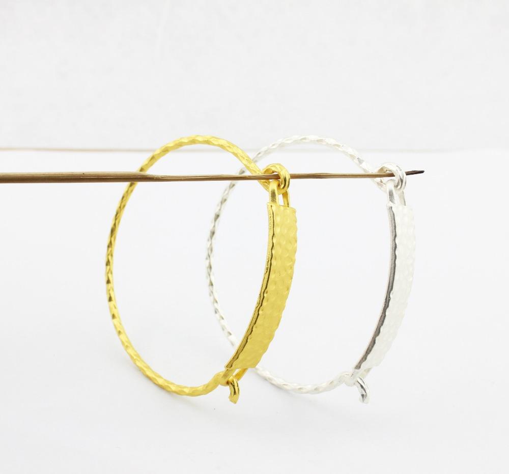 2015 Fashion Horizontal Bar Jewelry ID Tag Hinge Cuff Bracelet 18k Yellow Gold Textured Nameplate Bar Cuff Bracelets & Bangles(China (Mainland))