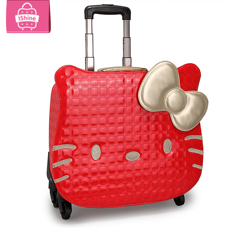 NEW Hello kitty women Girl kids trolley cases luggage 18uniersal wheels Swivel Casters 3D travel suitcase bag EMS free shipping<br><br>Aliexpress