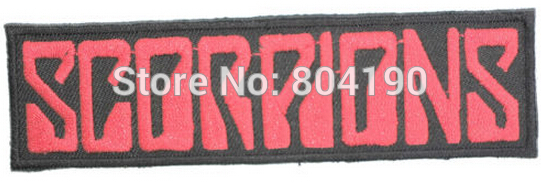 """4.5"""" SCORPIONS Red Logo Music Post Hardcore Band Embroidered IRON ON and SEW ON Patch Heavy Metal Custom patch(China (Mainland))"""