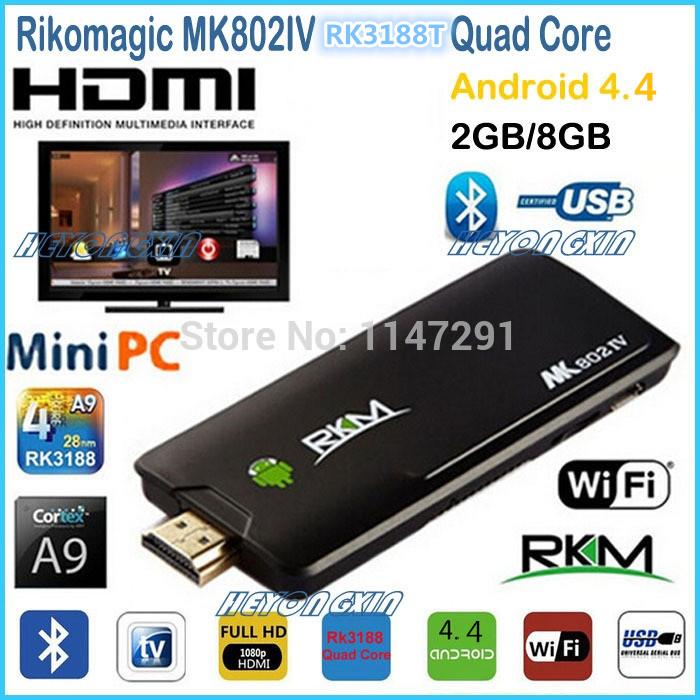Rikomagic RKM MK802IV Android TV Box Mini PC Android 4.4 RK3188T Quad Core 1.8GHz 2G/8G WiFi HDMI Media Player Smart TV(China (Mainland))