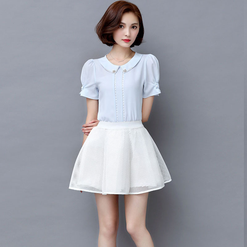 Make 2016 New Korean Summer Baby Collar Chiffon Short Sleeved Shirt Ladies Diamond Chiffon Shirt Jacket(China (Mainland))