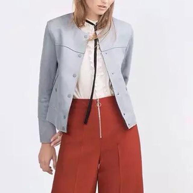 Женщины осень замшевую куртку однобортный наряд с длинным рукавом твердые пальто ...