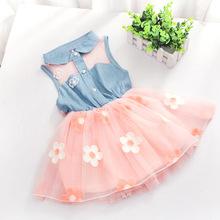 Fashion Baby Kids Girls Denim Dress Sleeveless Shirt Tulle Princess Tutu Dresses 2-7YZQ1