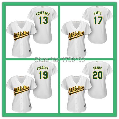 Oakland Athletics #13 Drew Pomeranz #17 Ike Davis #19 Josh Phegley #20 Mark Canha Jersey Women's Embroidery Baseball Jersey(China (Mainland))