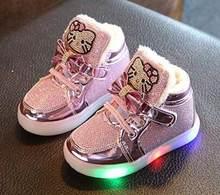 Bling Prenses kış botu çocuk Rahat LED Ayakkabı Sıcak Tutmak Parlak Deri çocuk Ayakkabı Moda Kızlar Parlayan Çizme kürk(China)