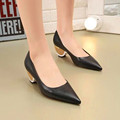 2017 New Ladies Real Leather Pointed Toe Spike Low Heels Wedding Shoes High Quality Women Fashion