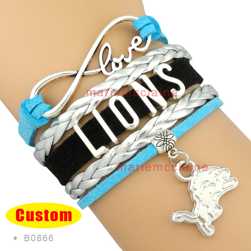 (10 Pieces/Lot) High Quality Infinity Love Detroit Lions Football Team Bracelet Blue Black Silver Custom Any Styles/Themes(China (Mainland))