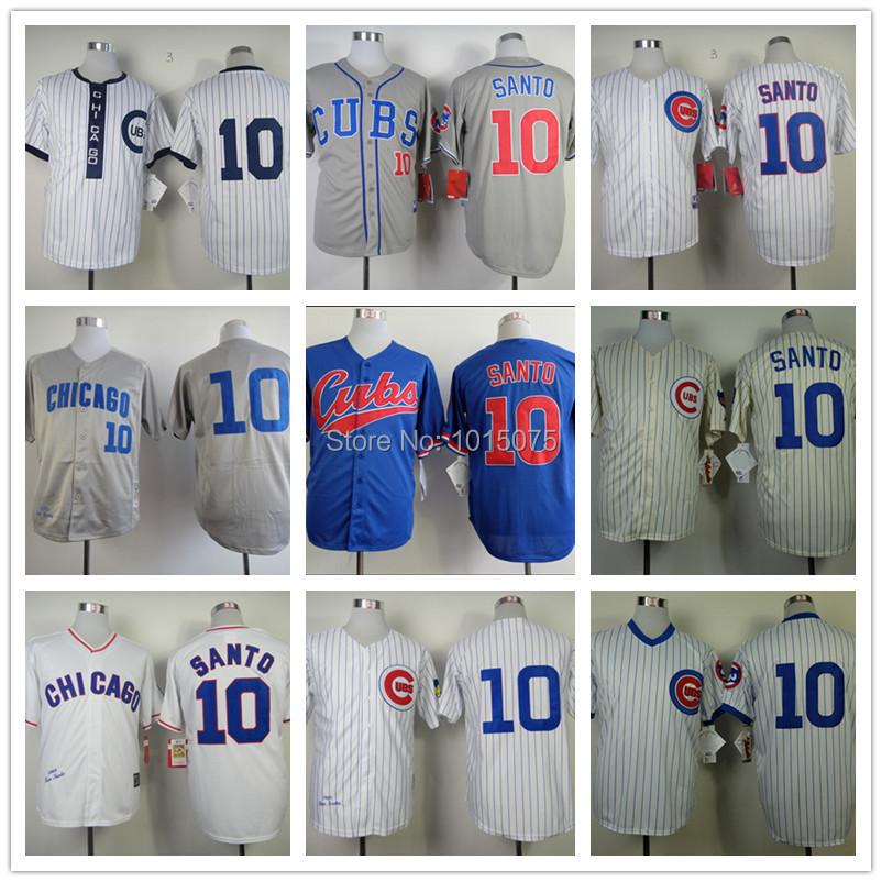 Ron Santo Jersey 1969 ,1988 Throwback, White Pinstripe Grey Cool Base Baseball Chicago Cubs Jerseys(China (Mainland))
