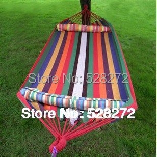 280 (L)*150 (W) cm,2 Person hammock, cotton hammock tourism camping hunting Leisure Fabric Stripes Outdoor hammocks(China (Mainland))