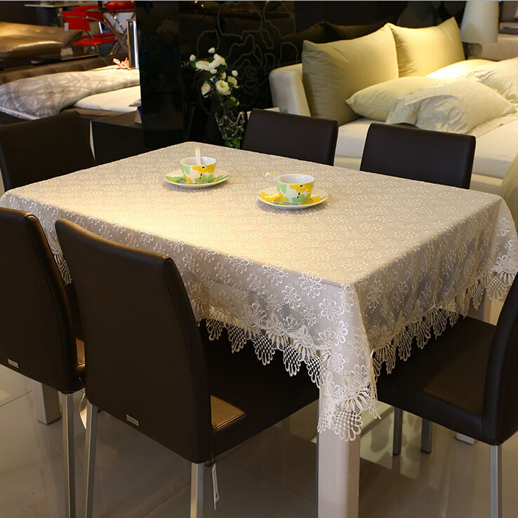 Beige White Water-soluble Solid Glass Yarn Embroidery Tablecloths Hollow Edge Table Cover Retangular For Wedding And Party(China (Mainland))