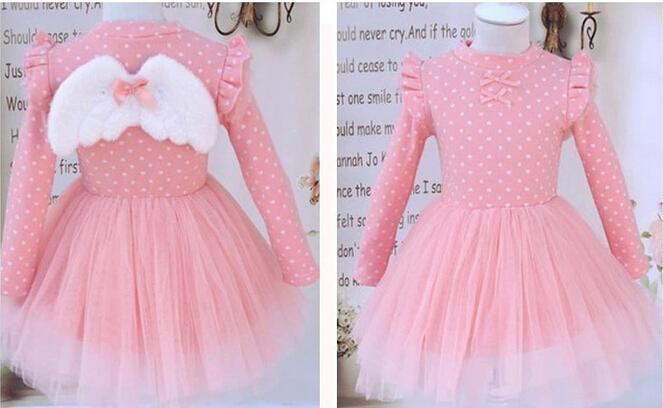 retail cotton 2015 summer little girl dress long sleeve floral children clothing flower girls angel wing vestidos de menina - Fashion kids select store