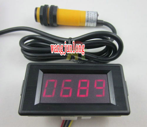 2pcs 12V 4 Digit Red LED Counter Meter+Infrared proximity photoelectric switch sensor(China (Mainland))