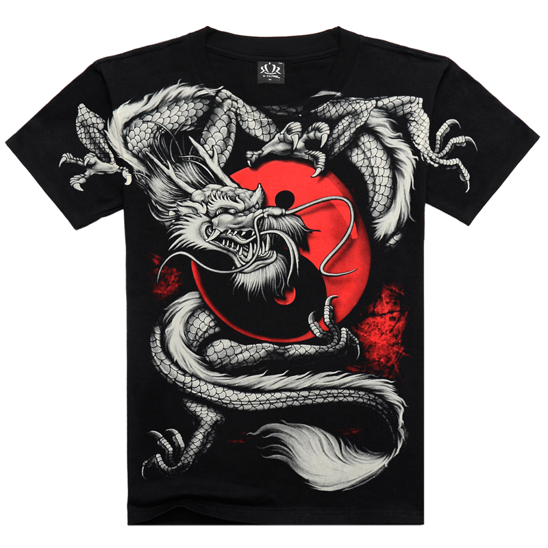 Tshirt Black short sleeve 3D Print Heavy Metal Style sleeve China Tai Chi T shirt Dragon Rock cotton menОдежда и ак�е��уары<br><br><br>Aliexpress