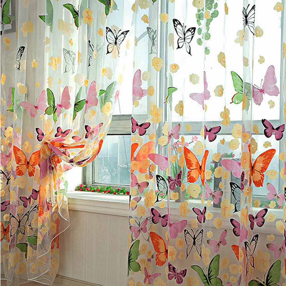 YOURSUNSHINE Brand New New Butterfly Printed Tulle Voile Door Window Balcony Sheer Panel Screen Curtains for Living Room(China (Mainland))