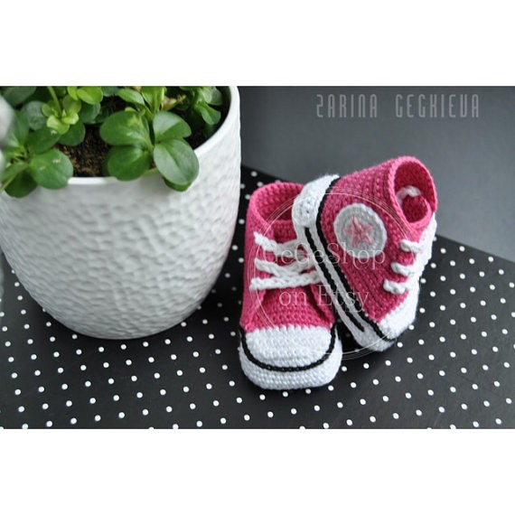 Crochet baby shoes pink - Baby crochet sneakers tennis booties boy girls infant sport shoes cotton 0-12M custom(China (Mainland))