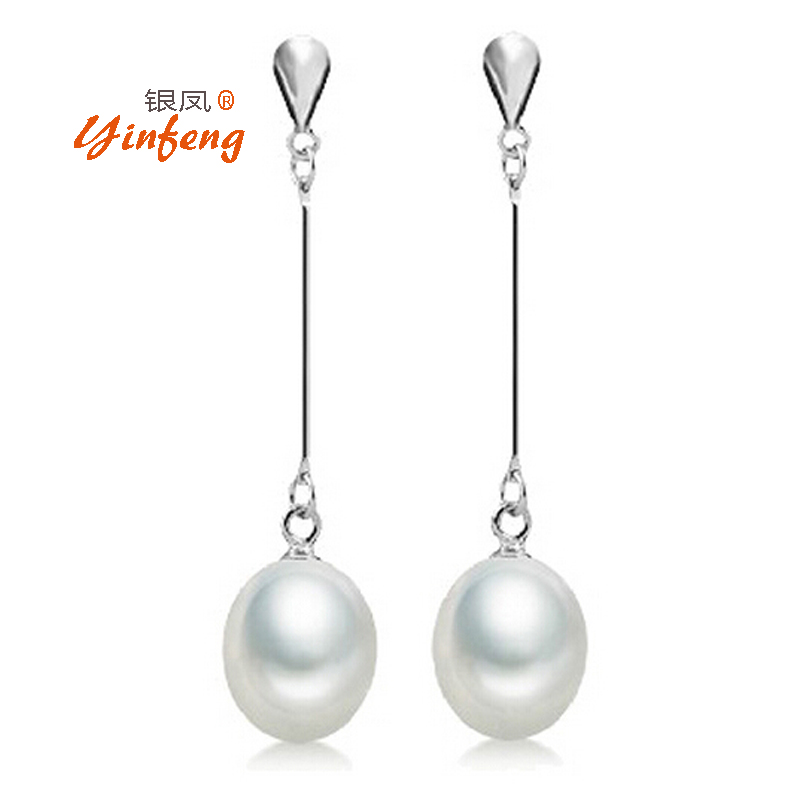 100% real pearl stud earrings for women high quality long earrings fashion freshwater pearl jewelry(China (Mainland))