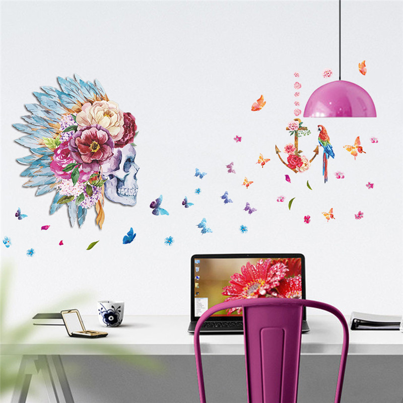 % Fashion Skull flower head feather Butterfly Parrot Birds home decor living room Bedroom wall art decal wall sticker Feather(China (Mainland))