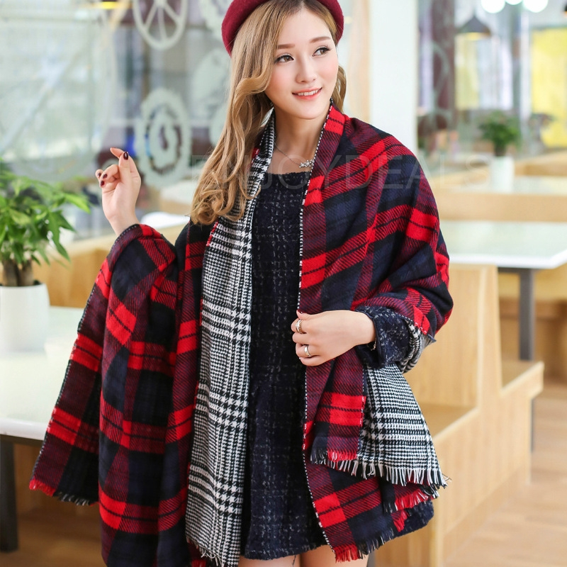 Best price Fashion Women Ladies Winter Warm Scarf Thicken Widen Double Layers Shawl for top quality(China (Mainland))