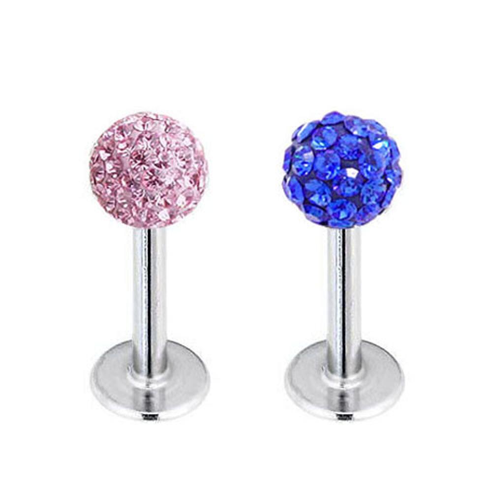 Big Promotion Internally Thread Crystal Labret / Tragus Bar / Monroe 4mm (pink)(China (Mainland))