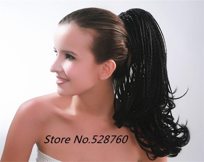 Hand woven black Braided ponytail  extension Clip In hair extensions free shipping<br><br>Aliexpress