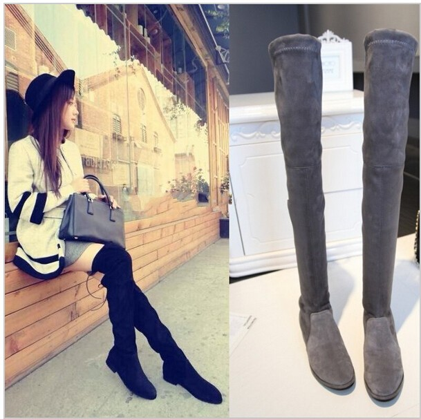 Hot Autumn Winter Women Genuine Leather Flats Heel Thigh High Suede Boots Elastic Slim Long Boots Lowland Boots<br>