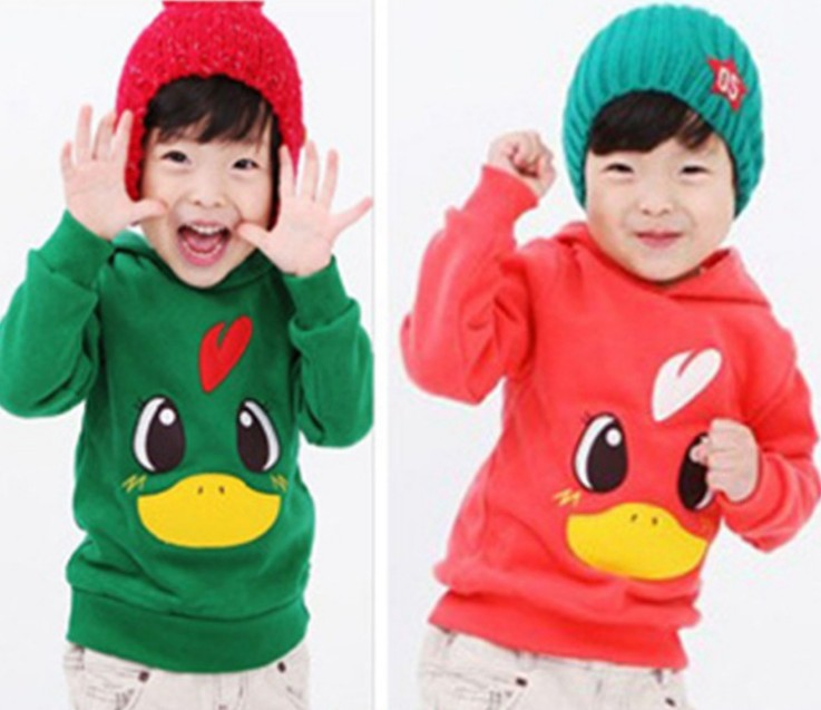 2014 boy girl T Shirt hooded Tee Tops duck hemp blended kid clothes children clothing