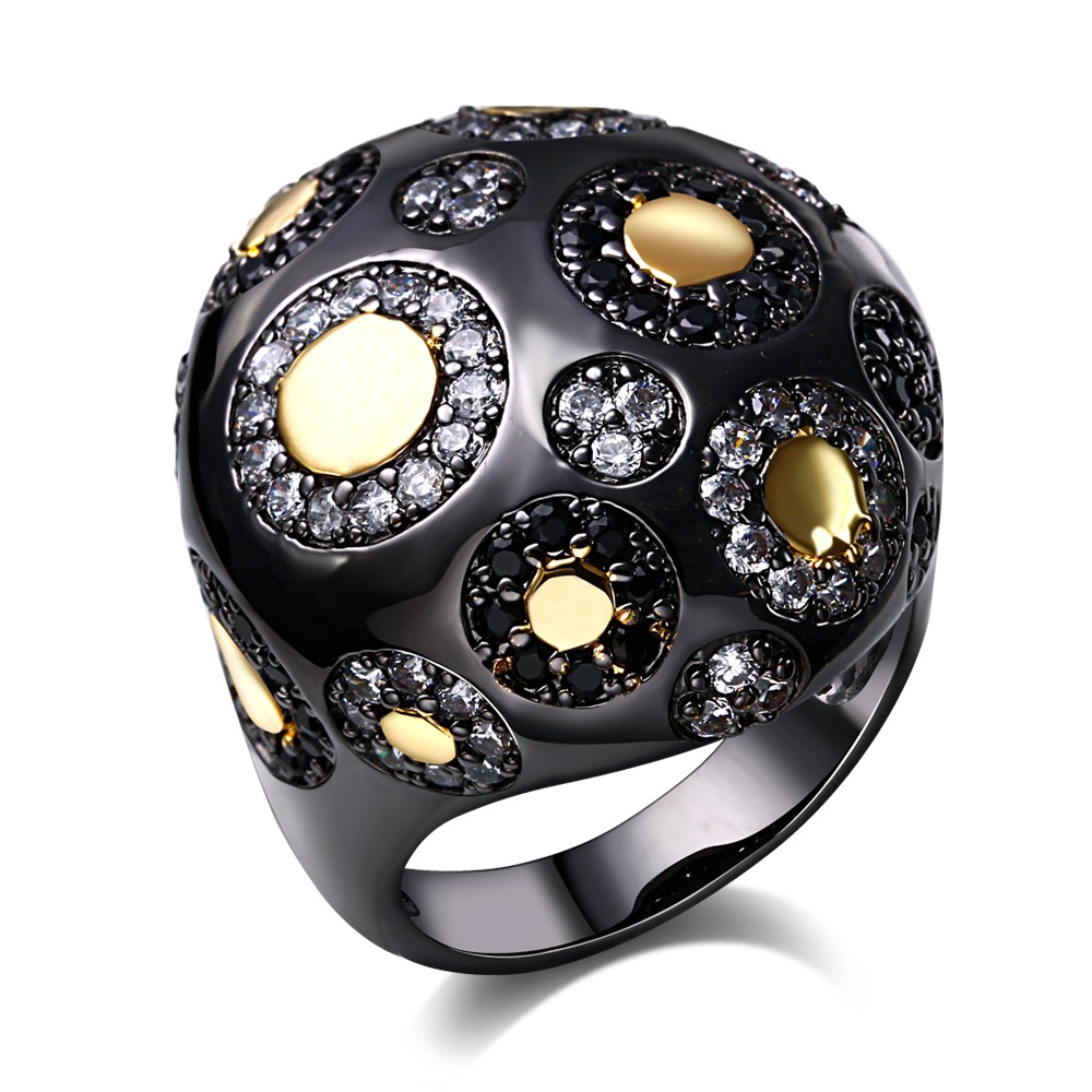 Romantic Rings for women big Ball style Ring black gold plated with cubic zircon stone new desigin fashion jewelry Free shipment(China (Mainland))