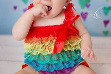 Girl Rainbow Lace Petti Romper Preemie Newborn Infant Child Toddler Birthday Cake Smash Clothes Clothing Rainbow Clown Outfit(China (Mainland))