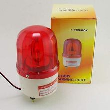 110VAC Red Rotating Beacon Warning Caution Light Lamp With Speaker Spiral Fixed