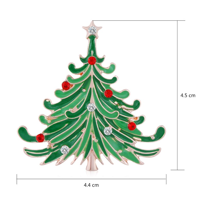 Rose Gold Plated Green Enamel Christmas Tree Brooches Rhinestone Brooches Lapel Pins Women Wedding Scarf Clip Collar (AI860043)