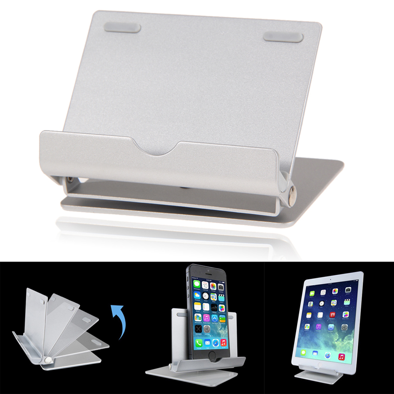 Universal Silver Phone Tablets Support  Portable Fold-up Desk Stand Mobile Phone Tablets Stand Holder For Phones Tablets<br><br>Aliexpress