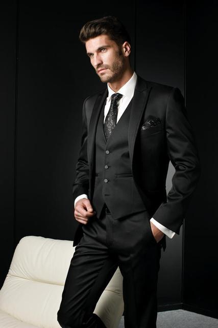 Black On Black Mens Suit Dress Yy