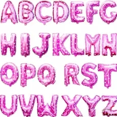 Party decoration PInk Color Alphabet Letter foil baloons 16inch custom shaped aluminum balloon 1pc retail free shipping(China (Mainland))