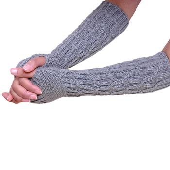 Amazing Winter Women Fingerless Knitted Long Gloves Female Fashion
