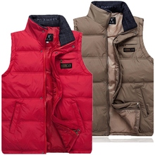 Quinquagenarian Men's down vest Men thermal waustciat plus size stand collar(China (Mainland))