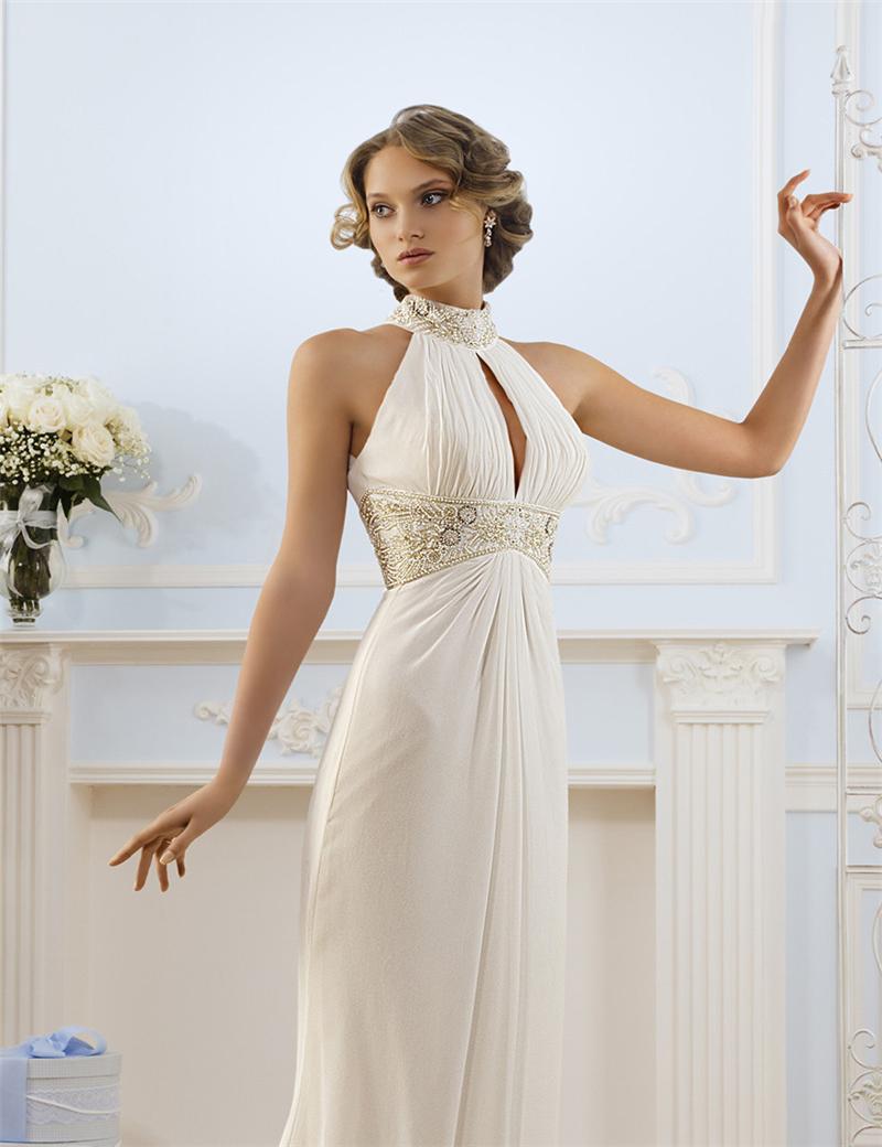 luxe strass perles en mousseline de soie halter robe de. Black Bedroom Furniture Sets. Home Design Ideas