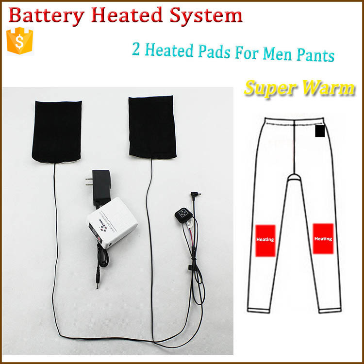 2 heated pads of battery heating system for Fashion 2015 New High quality Casual Mens pants with heated clothing warm OUBOHK(China (Mainland))