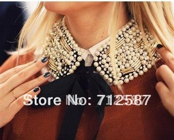 New Hot Fashion Removable Retro Faux Pearl Bead Necklace Embellished Fake Collar~free shipping#8734